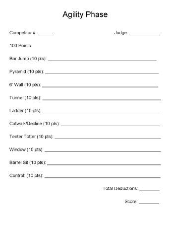 K9 Trials - Agility Phase Score Sheet