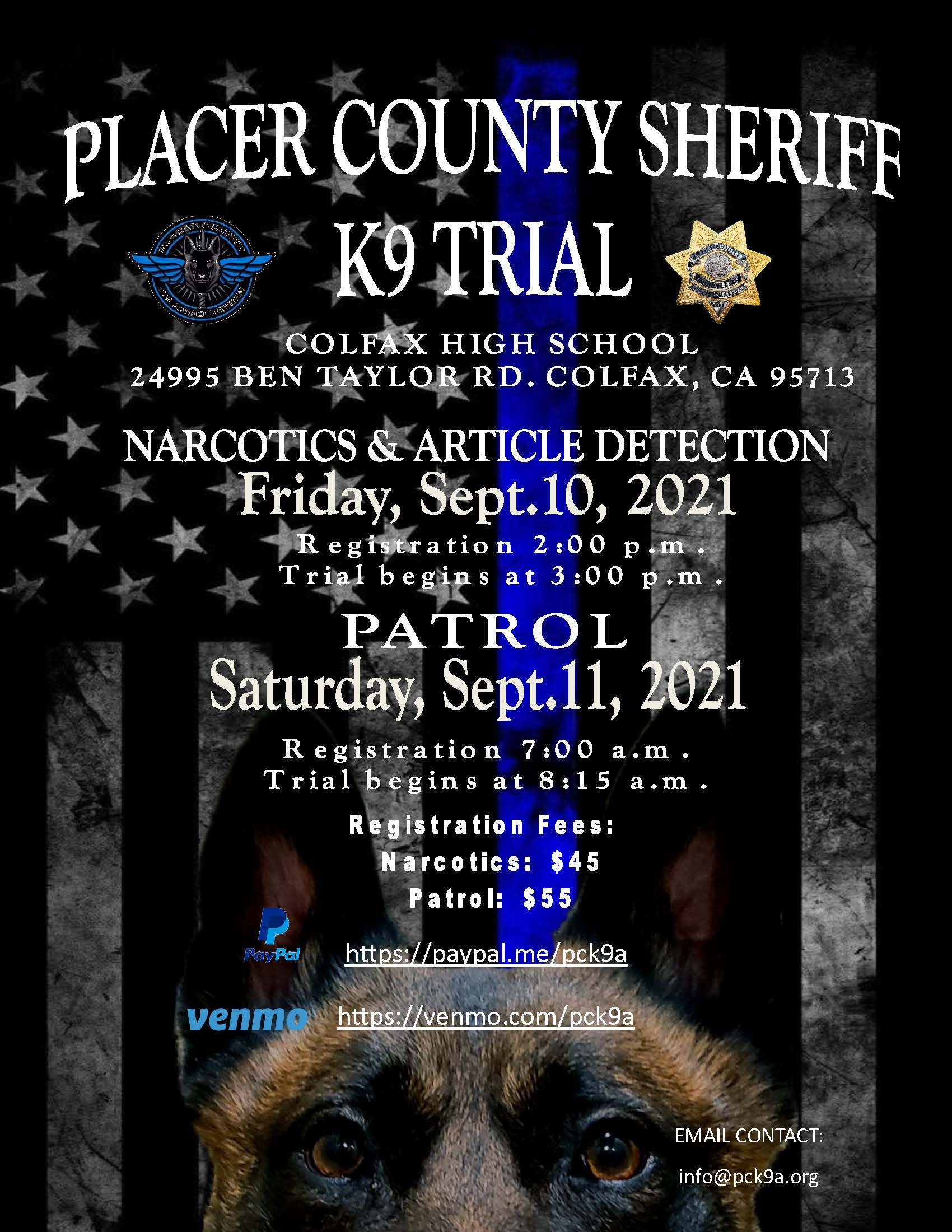 Placer County Sheriff's K9 Trial - Sept. 10 & 11, 2021